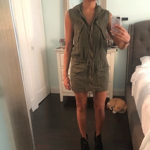 DKNY JEANS olive green hooded vest / mini dress